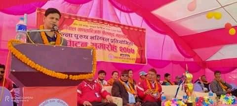 गणतान्त्रिक खेलकुद महासंघकाे दाङमा खुल्ला पुरुष भलिबल प्रतियोगिताको उद्घाटन