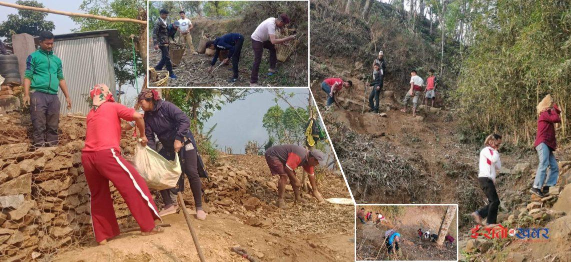 जनश्रमदान गर्दै नेकपा गोरखाका नेताकार्यकर्ताहरु